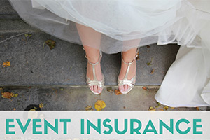 Bride feet on stairs (caption: Event Insurance)