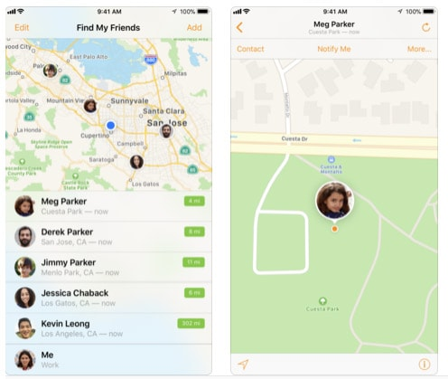 Find My Friends screenshots on phones