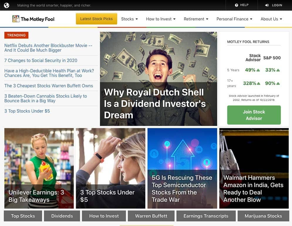 The Motley Fool Homepage