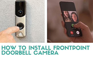 Frontpoint doorbell camera being pushed next to someone answering it on the App (caption: How To Install The Frontpoint Doorbell Camera)