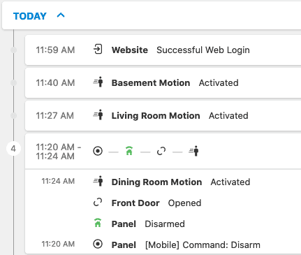 Frontpoint portal - screenshot of activity section.
