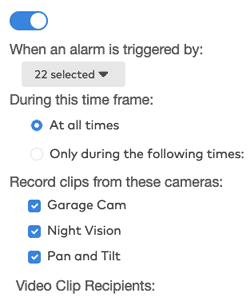 Frontpoint portal - screenshot of settings for event-triggered recording schedule
