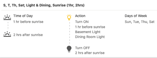 Frontpoint portal - screenshot of settings for light automation schedule