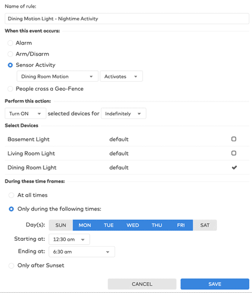 Screenshot of a lights rule and the settings you can specify in the Frontpoint home security portal