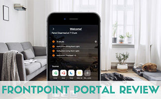 Frontpoint Portal on iphone screen (caption: Frontpoint Portal Review)
