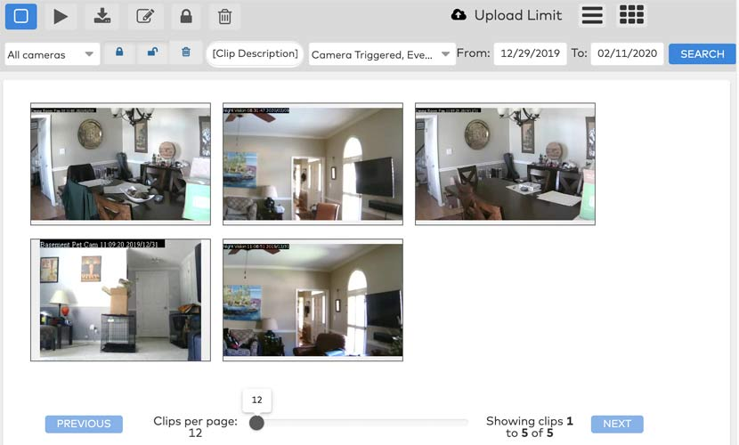 A screenshot of the saved video clips portion of the Frontpoint portal showing live video feeds and controls.