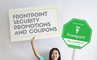 Girl holding sign that says: Frontpoint Security Promotions And Coupons next to Frontpoint secuirty sign