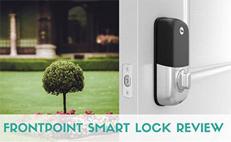 Frontpoint smart lock on door opening to yard (caption: Frontpoint Smart Lock Review)