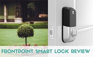 Frontpoint smart lock on door opening to yard (caption: Frontpoint Smart Lock Review)
