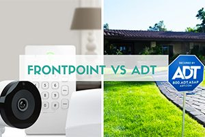 Frontpoint vs ADT security systems next to each other (caption: Frontpoint vs ADT)
