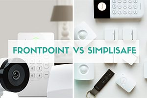 Frontpoint vs SimpliSafe equpiment side by side (caption: Frontpoint vs SimpliSafe)