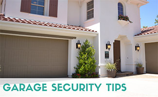 Outside house with garage door shut (caption: Garage Security Tips)