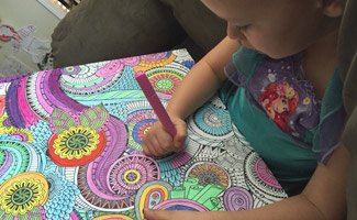 Girl coloring canvas