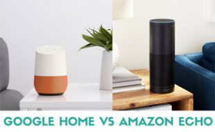 Google Home and Amazon Echo on table