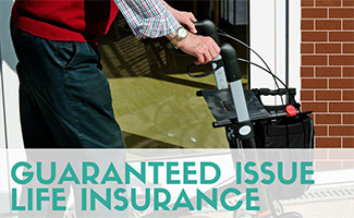 Eledrly man with walker (caption: Guaranteed Issue Life Insurance)