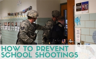 Police entering classroom with guns (caption: How To Prevent School Shootings)