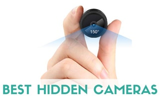 Hand holding tiny hidden camera in hand (caption: Best Hidden Cameras)