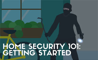 Cartoon of a burglar about to break into a home (caption: Home Security 101: Getting Started)