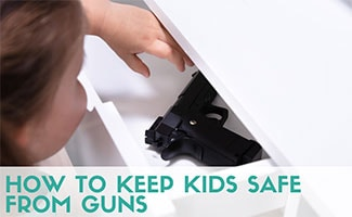 Child reaching in drawer to get gun (caption: How To Keep Kids Safe From Guns)