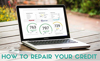 Credit scores on computer screen (caption: How To Repair Your Credit)
