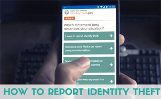Person reporting ID theft on cell phone: How to Report Identity Theft
