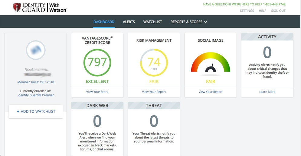 Screenshot of Identity Guard Dashboard