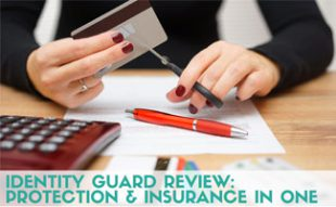 Woman cutting credit card in half: Identity Guard Review: Protection & Insurance in One