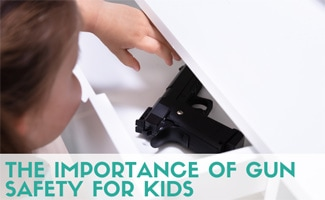 Kid reaching in drawer for gun (caption: The Importance Of Gun Safety For Kids)