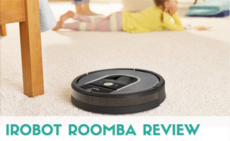iRobot Roomba on carpet with kid laying on floor