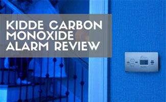 Kidde Carbon Monoxide Alarm on wall in dark (text in image: Kidde Carbon Monoxide Alarm Review)