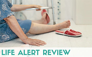 Elderly lady on ground of bathroom who fell (caption: Life Alert Review)