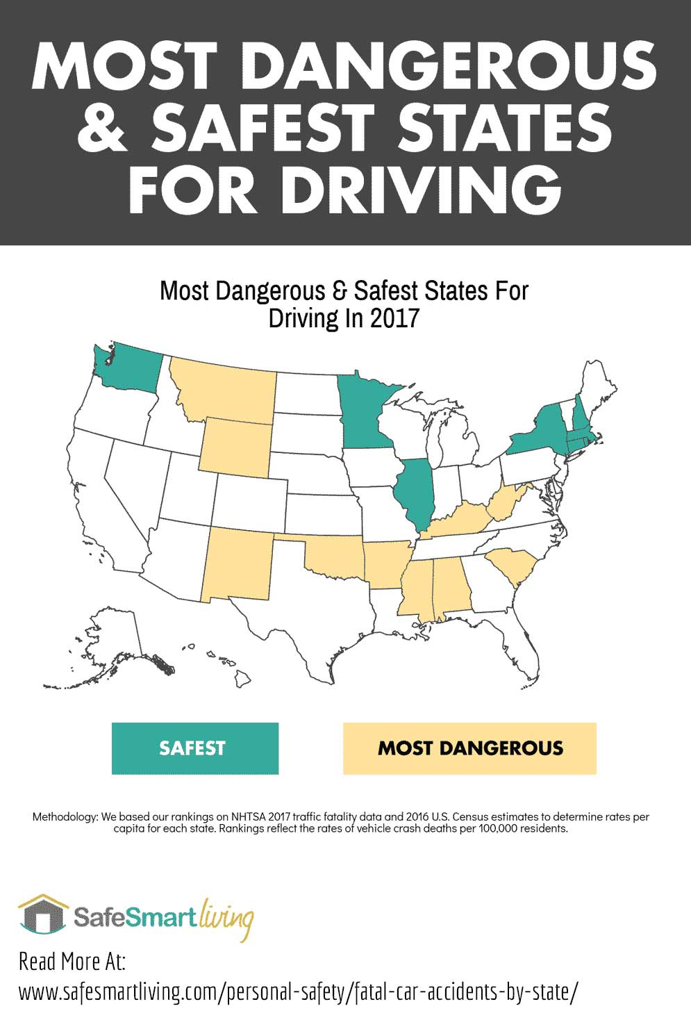 Map of safest and most dangerous states in the U.S. Caption: What Are The Most Dangerous And Safest States For Driving?