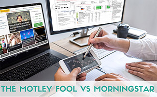 Two computer screens side by side with investing websites on screens (caption: The Motley Fool vs Morningstar)