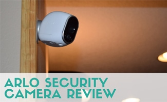 Arlo Camera on wall (text in image: Arlo Security Camera Review)