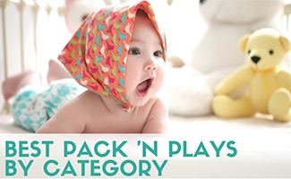 Baby crawling in pack n play (caption: Best Pack N Plays)