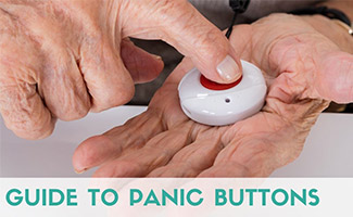 Elderly man holding panic button in hand (caption: Guide to Panic Buttons)