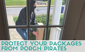 Someone stealing package from porch (caption: How To Protect Your Packages From Porch Pirates)