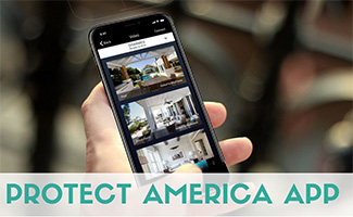 Hand holding iphone with Protect America App video on screen (caption: Protect America App)