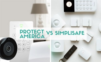 Protect America and Simplisafe equipment side by side (caption: Protect America vs Simplisafe)