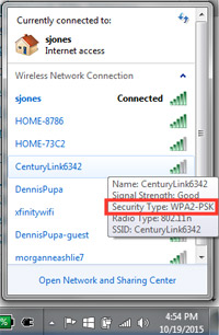Screenshot of wifi connections