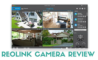 Reolink iOS app on screen (caption: Reolink Camera Review)