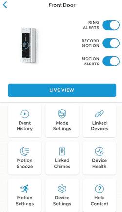 Screenshot of Ring app camera settings