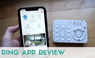 Ring App on iPhone and keypad (caption: Ring App Review)