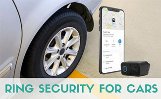 Ring alarm and app next to car (caption: Ring Security For Cars)