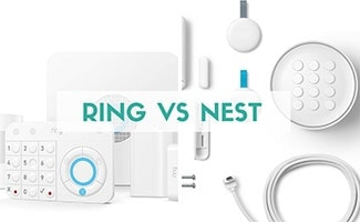 Ring and Nest equipment side by side (caption: Ring vs Nest)