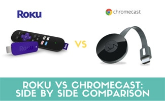 Roku with remote and Chromecast side by side