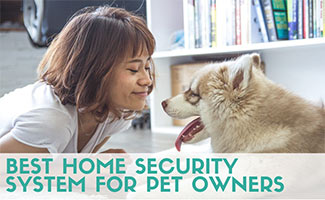 Woman on floor with dog (caption: Best Home Security System For Pet Owners)