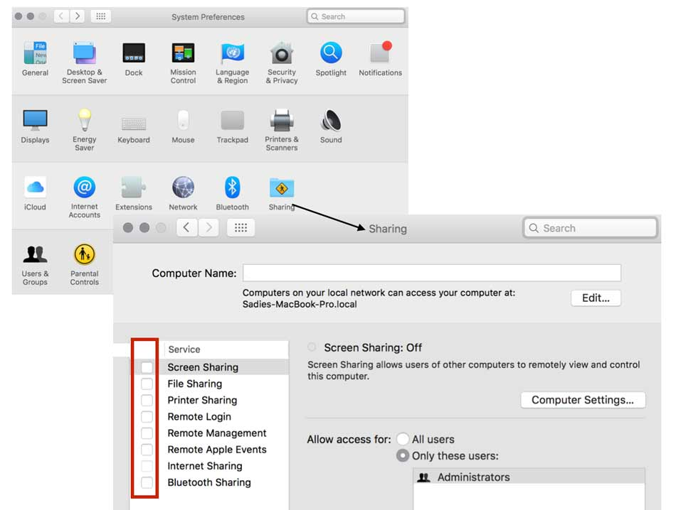 Screenshot of Turn Sharing Off on Mac