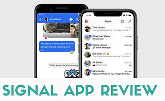Signal app on phones (caption: Signal App Review)