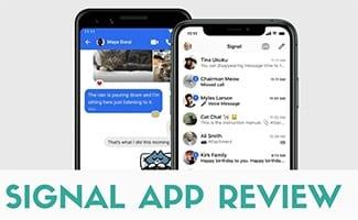 Signal app on phones (caption: Signal App Review)